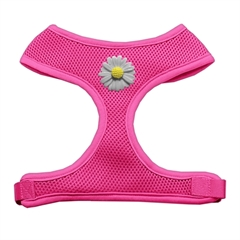 Mirage Pet Products White Daisies Chipper Pink Harness Medium