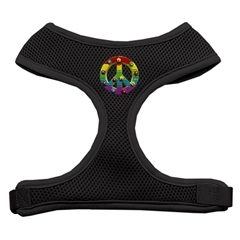 Mirage Pet Products Rainbow Peace Sign Chipper Black Harness Large