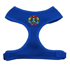 Mirage Pet Products Rainbow Peace Sign Chipper Blue Harness Large
