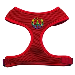 Mirage Pet Products Rainbow Peace Sign Chipper Red Harness Small