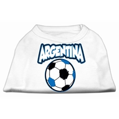 Mirage Pet Products Argentina Soccer Screen Print Shirt White 6x (26)