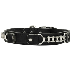 Mirage Pet Products Bike Chain Leather Collar Black 22