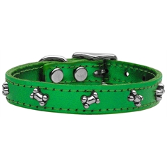 Mirage Pet Products Metallic Bone Leather  Emerald Green MTL 22