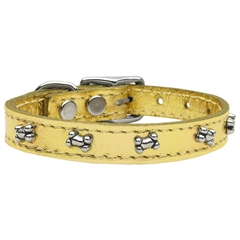 Mirage Pet Products Metallic Bone Leather  Gold 12