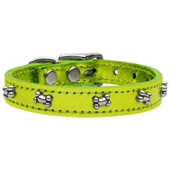Mirage Pet Products Metallic Bone Leather  Lime Green MTL 22