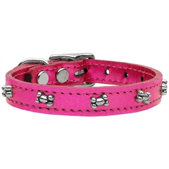 Mirage Pet Products Metallic Bone Leather  Pink MTL 20