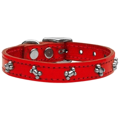 Mirage Pet Products Metallic Bone Leather  RedMTL 16