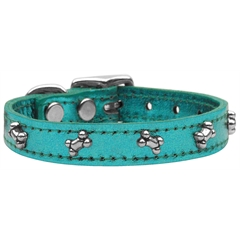 Mirage Pet Products Metallic Bone Leather  Turquoise MTL 16