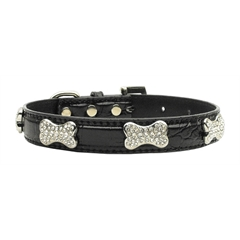 Mirage Pet Products Faux Croc Crystal Bone Collars Black Small