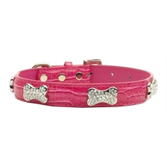 Mirage Pet Products Faux Croc Crystal Bone Collars Pink Medium