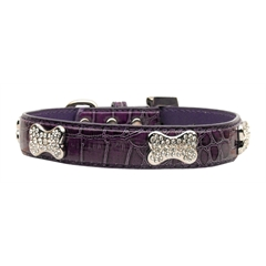 Mirage Pet Products Faux Croc Crystal Bone Collars Purple Small