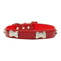 Mirage Pet Products Faux Croc Crystal Bone Collars Red Extra Small