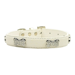 Mirage Pet Products Faux Croc Crystal Bone Collars White Small