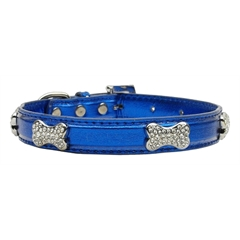 Mirage Pet Products Metallic Crystal Bone Collars Blue Large