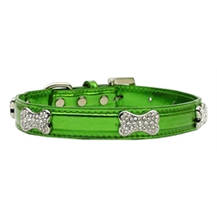 Mirage Pet Products Metallic Crystal Bone Collars Emerald Green Large