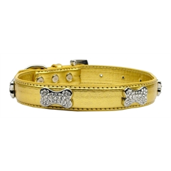 Mirage Pet Products Metallic Crystal Bone Collars Gold Small