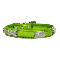 Mirage Pet Products Metallic Crystal Bone Collars Lime Green Large