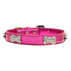 Mirage Pet Products Metallic Crystal Bone Collars Pink Medium