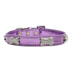 Mirage Pet Products Metallic Crystal Bone Collars Purple Extra Small