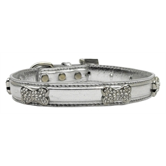 Mirage Pet Products Metallic Crystal Bone Collars Silver Extra Small