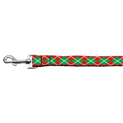 Mirage Pet Products Christmas Argyle Nylon Ribbon Leash 1 inch wide 4ft Long