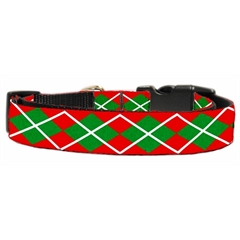 Mirage Pet Products Christmas Argyle Nylon Ribbon Collar Medium