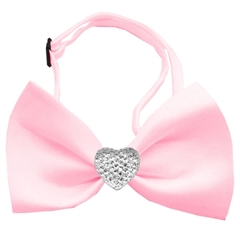 Mirage Pet Products Clear Crystal Heart Light Pink Bow Tie