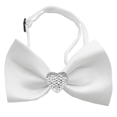 Mirage Pet Products Clear Crystal Heart White Bow Tie