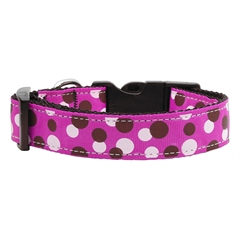 Mirage Pet Products Confetti Dots Nylon Collar Fuchsia Medium