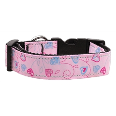 Mirage Pet Products Crazy Hearts Nylon Collars Light Pink Medium