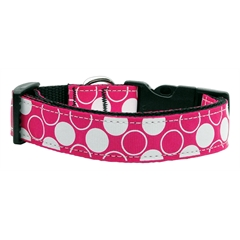 Mirage Pet Products Diagonal Dots Nylon Collar  Bright Pink Large