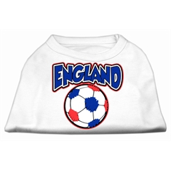 Mirage Pet Products England Soccer Screen Print Shirt White Lg (14)
