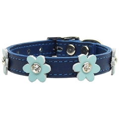 Mirage Pet Products Flower Leather Blue w/ Baby Blue Flowers 12