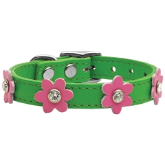 Mirage Pet Products Flower Leather Emerald Green w/ Pink Flowers 14