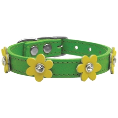 Mirage Pet Products Flower Leather Emerald Green w/ Yellow Flowers 12
