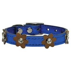 Mirage Pet Products Flower Leather Metallic Blue w/ Bronze Flowers 14