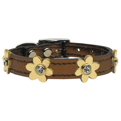 Mirage Pet Products Flower Leather Bronze w/ Gold Flowers 14