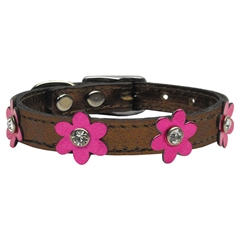 Mirage Pet Products Flower Leather Bronze w/ Mtl Pink Flowers 10