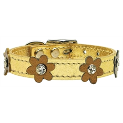 Mirage Pet Products Flower Leather Gold w/ Bronze Flowers 14