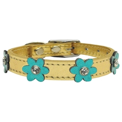 Mirage Pet Products Flower Leather Gold w/ Metallic Turquoise Flowers 10