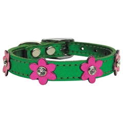 Mirage Pet Products Flower Leather Metallic Emerald Green w/ MTL Pk Flowers 12
