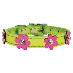 Mirage Pet Products Flower Leather Metallic Lime Green w/ Metallic Pink Flowers 10
