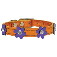 Mirage Pet Products Flower Leather Metallic Apricot w/ Metallic Purple Flowers 10