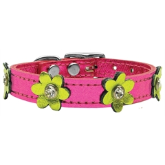 Mirage Pet Products Flower Leather Metallic Pink w/ Metallic Lime Green Flowers 12