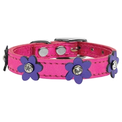 Mirage Pet Products Flower Leather Metallic Pink w/ Metallic Purple Flowers 14