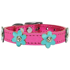 Mirage Pet Products Flower Leather Metallic Pink w/ Metallic Turquoise Flowers 10