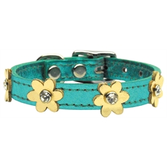 Mirage Pet Products Flower Leather Metallic Turquoise w/ Gold Flowers 10