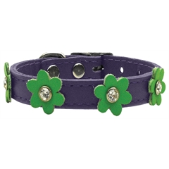 Mirage Pet Products Flower Leather Purple w/ Lime Green 12