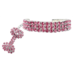 Mirage Pet Products Glamour Bits Pet Jewelry Pink L (10-12)