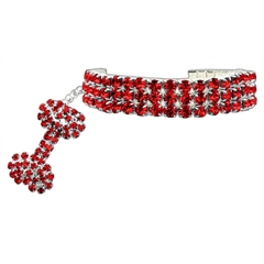 Mirage Pet Products Glamour Bits Pet Jewelry Red M (8-10)